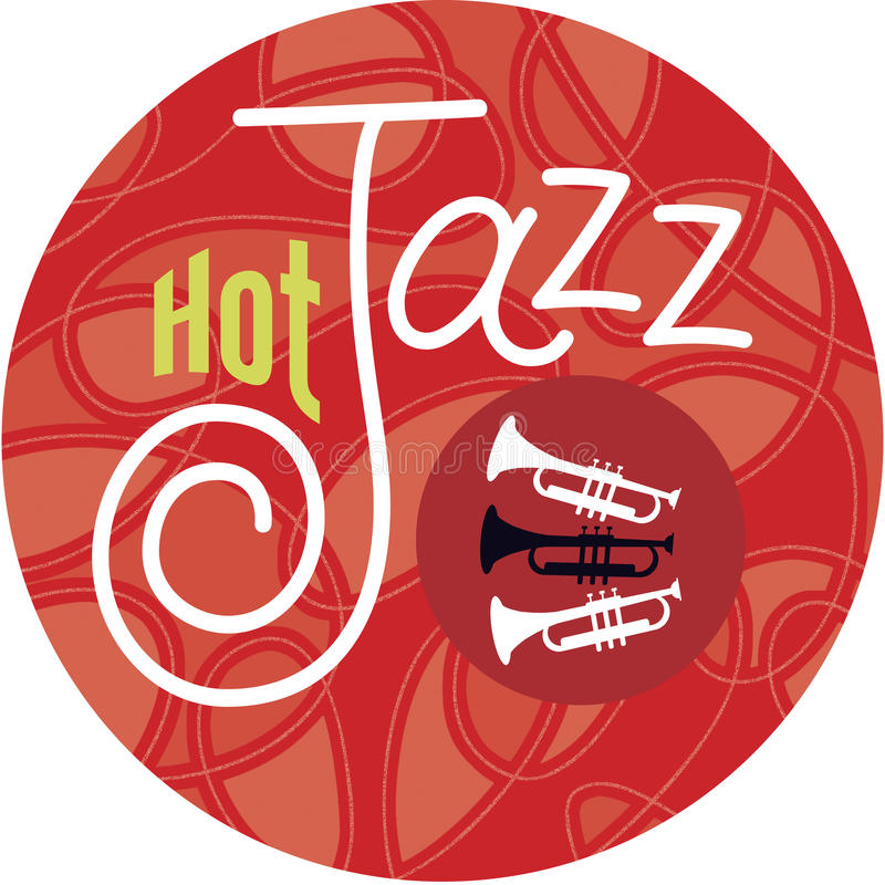 Hot Jazz Trumpets. Hot jazz, cool jazz, the trumpets play on! Horn player or not, show the world where you stand with this unique design by Jazz: Cool Birth stock illustration