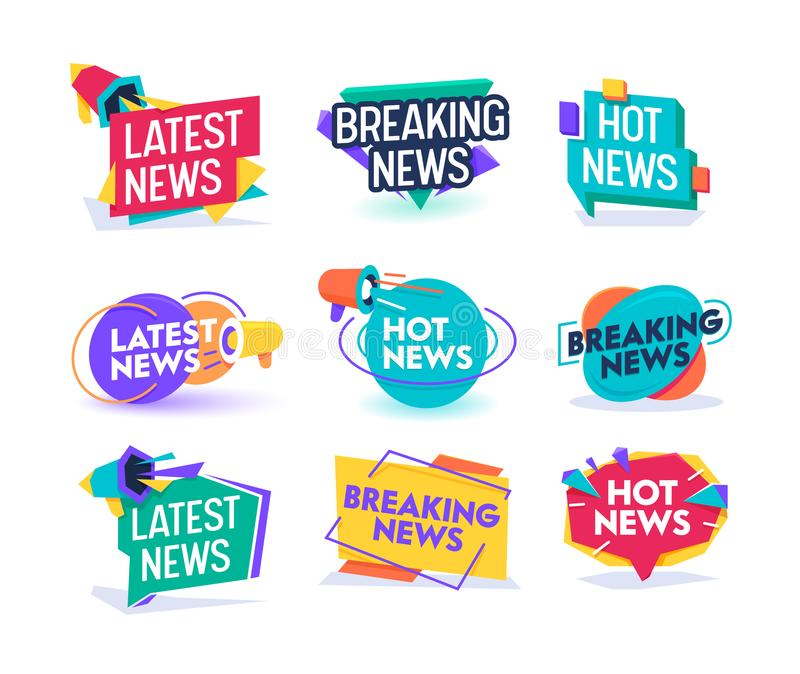 Hot Latest News Daily Update Badge Template Set. Important Breaking Report Label Geometric Design. Online Magazine stock illustration