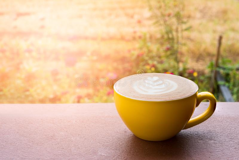 Hot latte coffee stock images