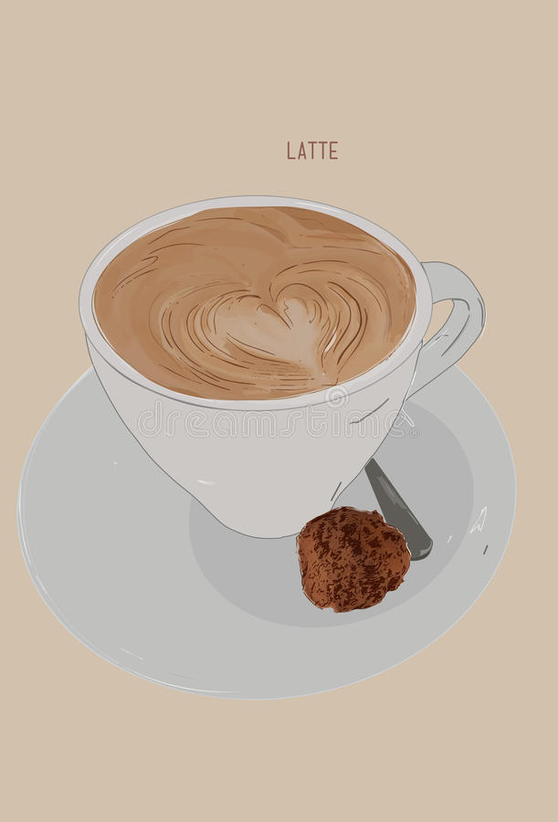 Hot Latte with cookie , Hand drawn illustration vector . latte a. Rt concept stock illustration