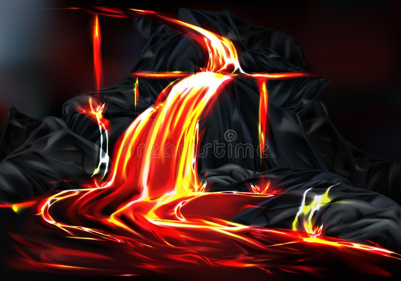 Hot lava flow during volcanic activity vector vector illustration