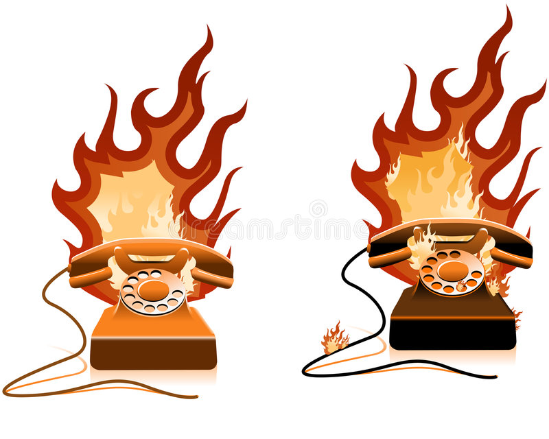 Download Hot Line - Burning Telephone O Stock Vector - Illustration: 2844793
