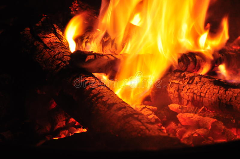 Hot Logs in a Fire. Hot logs burn together in a hot fire royalty free stock images