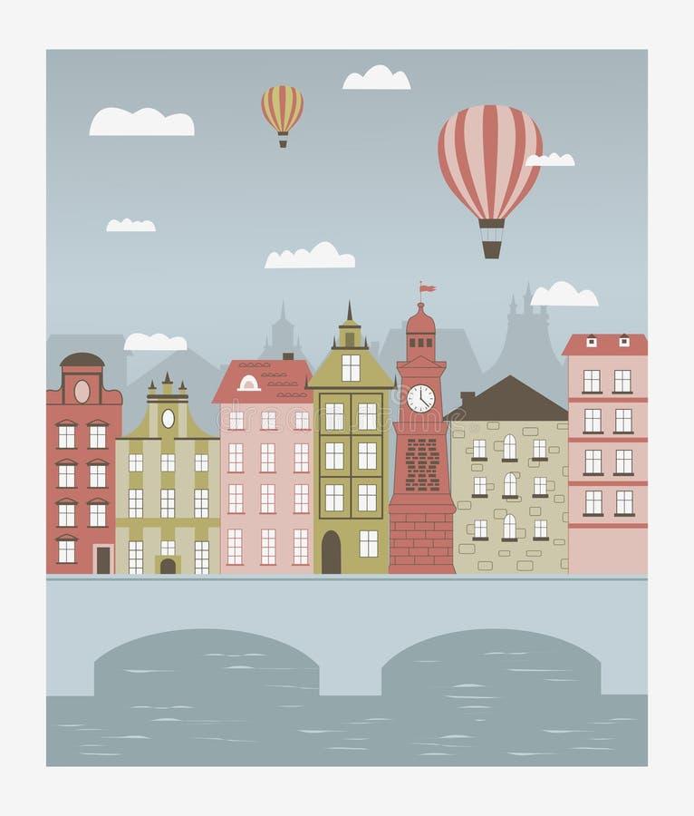 Hot luftar ballonger som lite flyger över townen. vektor illustrationer
