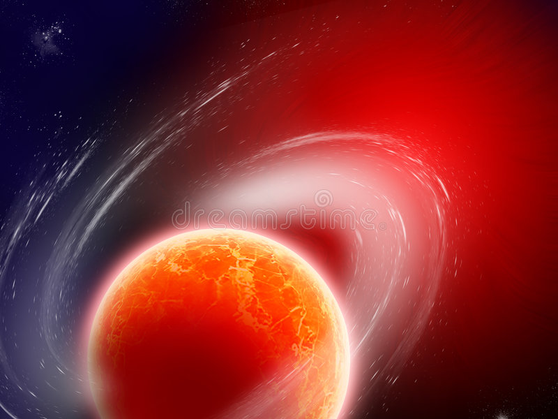 Hot magma planet. In nebula spiral goes in red space on deep universe vector illustration