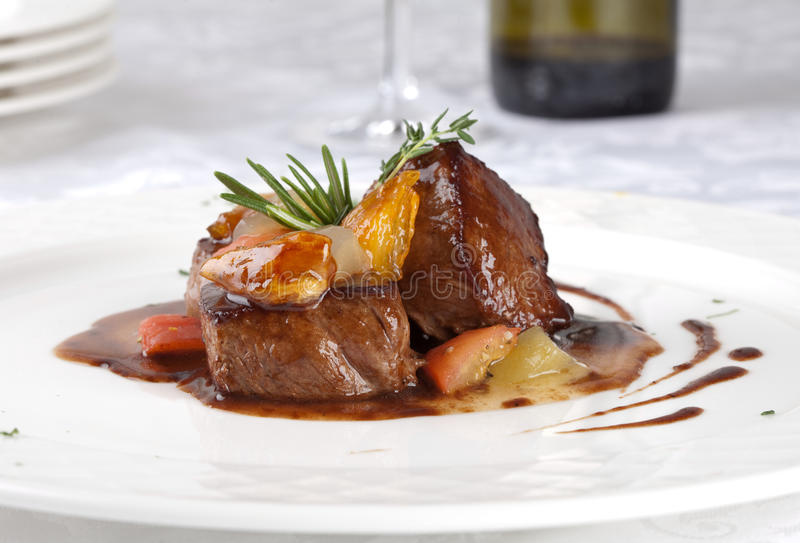 Hot Meat Dishes-Fillet of beef stock images