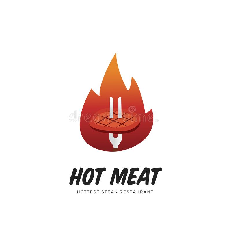 Hot meat grill steak logo with fire flame illustration symbol royalty free illustration