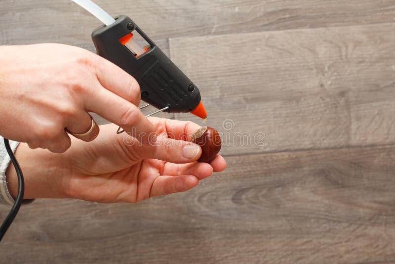 Hot melt gun. Handmade using hot melt gun (Close-up, Shallow DOF royalty free stock photos