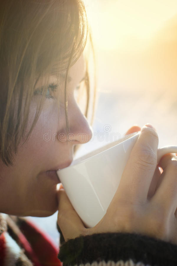 Hot morning drink winter royalty free stock photo