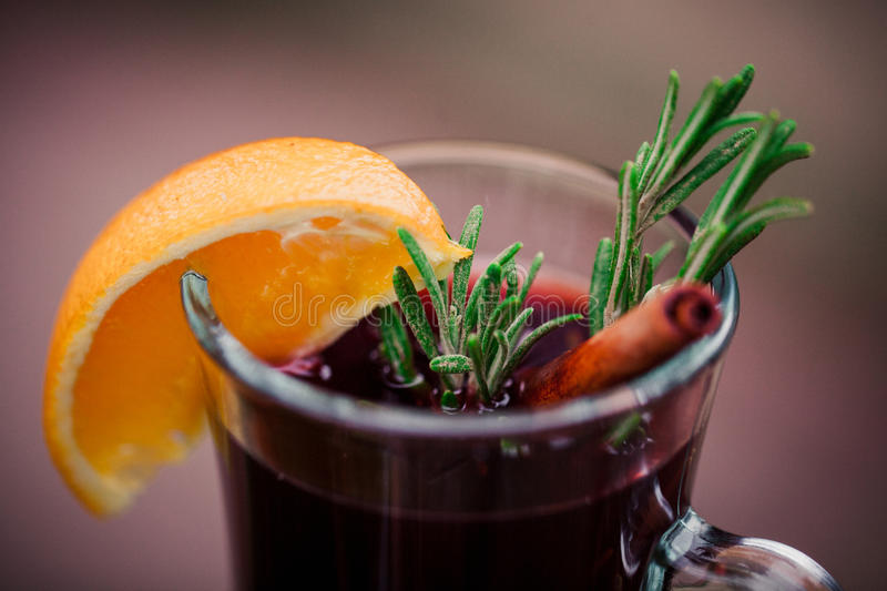 Hot mulled red wine closeup royalty free stock image