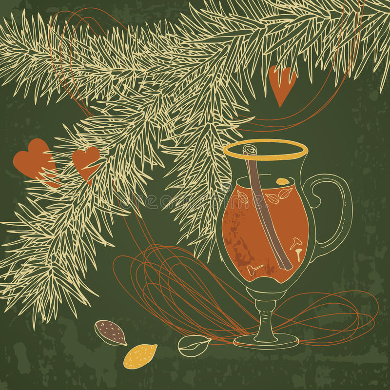 Download Hot Mulled Wine stock vector. Image of cafe, decoration - 27565980