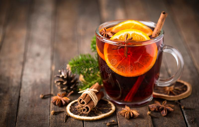 Hot mulled wine. With cinnamon and star anise stock images