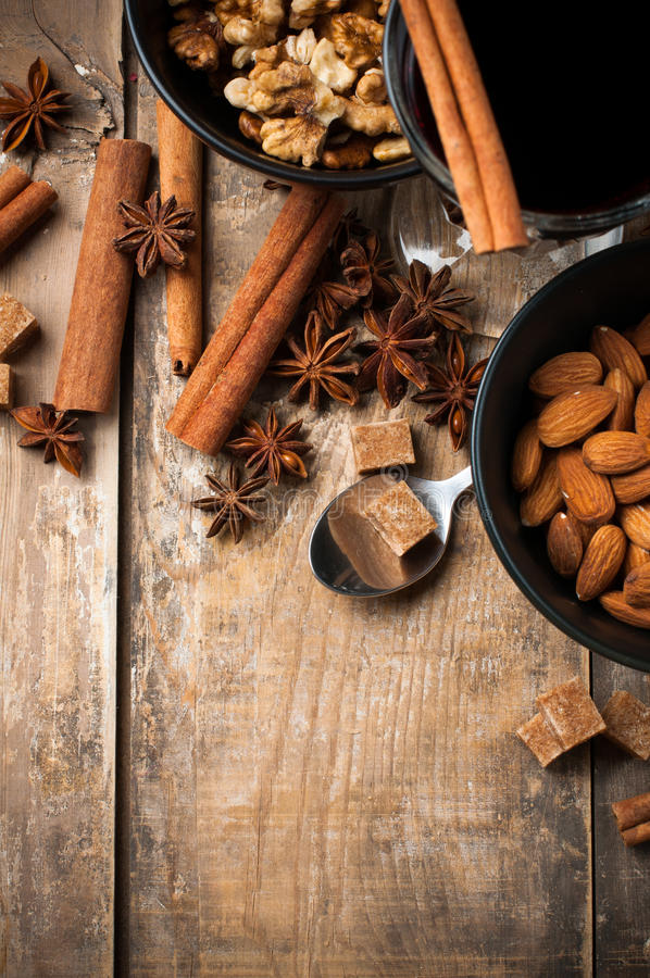 Hot Mulled Wine, Spices And Nuts Stock Photos