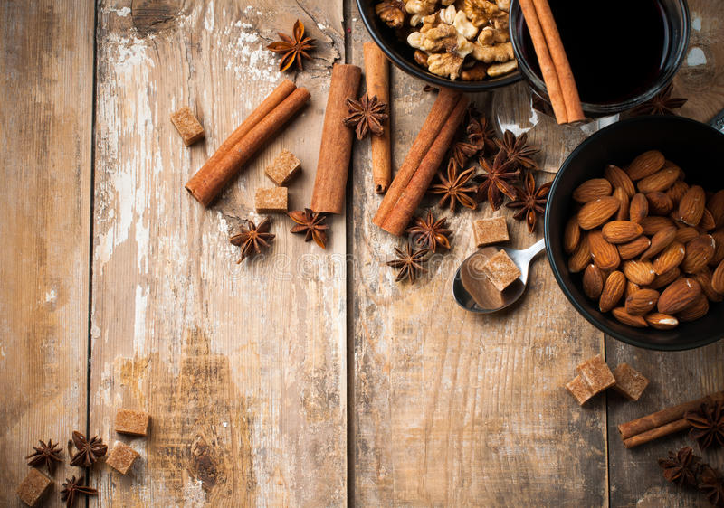 Download Hot Mulled Wine, Spices And Nuts Stock Image - Image: 34016239