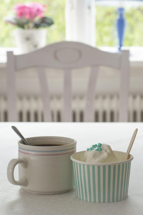 Hot N Cold. Liquid and solid. Coffee and ice cream. stock image