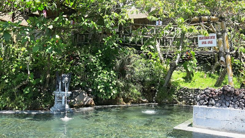 Hot natural springs in the mountains at Lake Batur. Bali Island in Indonesia royalty free stock photography