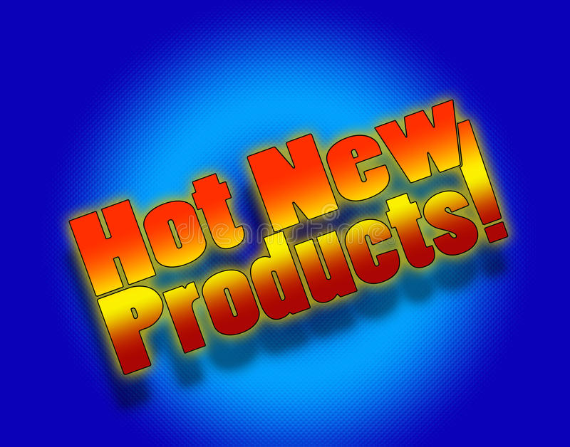 Hot new products. Banner to announce recently introduced products royalty free illustration