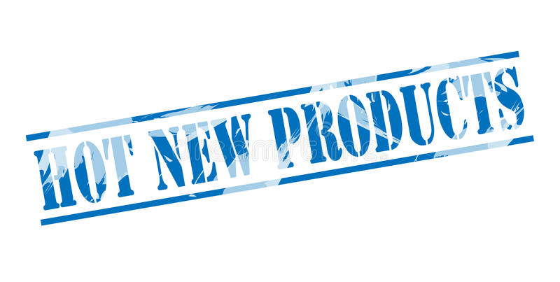 Hot New products blue stamp. Isolated on white background vector illustration