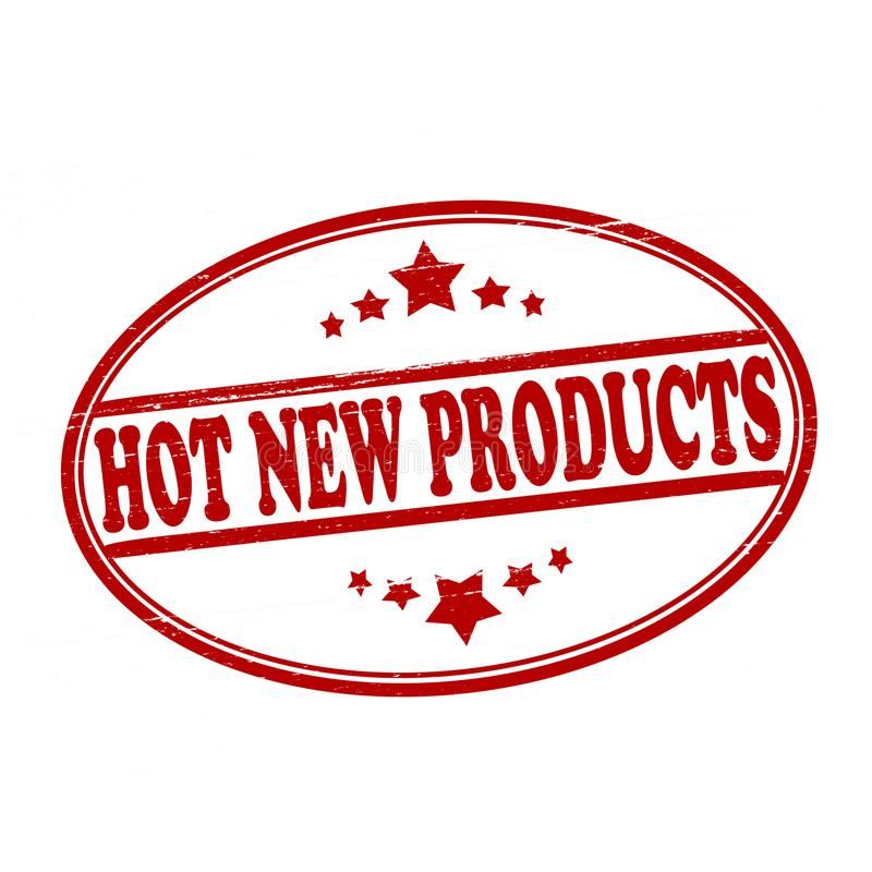Hot new products. Stamp with text hot new products inside, illustration stock illustration