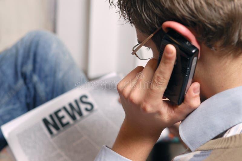 Hot news. Young man reading hot news