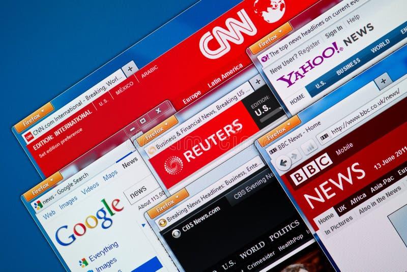 Hot News Web Sites. Kiev, Ukraine - June 13, 2011 - Top news web sites - CNN, Google News, Reuters, Yahoo News, BBC and CBS News in Firefox browsers on a