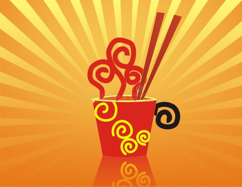 Download Hot Noodles With Red Chopstick Stock Vector - Illustration of noodle, soup: 3979850
