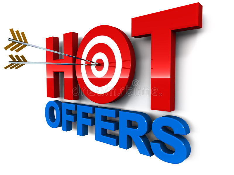 Hot offer. S word with target circle and arrows hitting the bulls eye, concept of best offers vector illustration