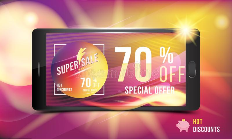 Hot offer is a super discount of 70 . Concept of advertising with a smartphone and banner with hot discounts and realistic fire wi stock illustration