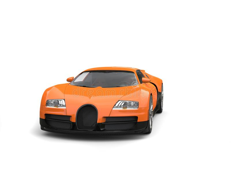 Hot orange modern super sports car - front view royalty free stock photos