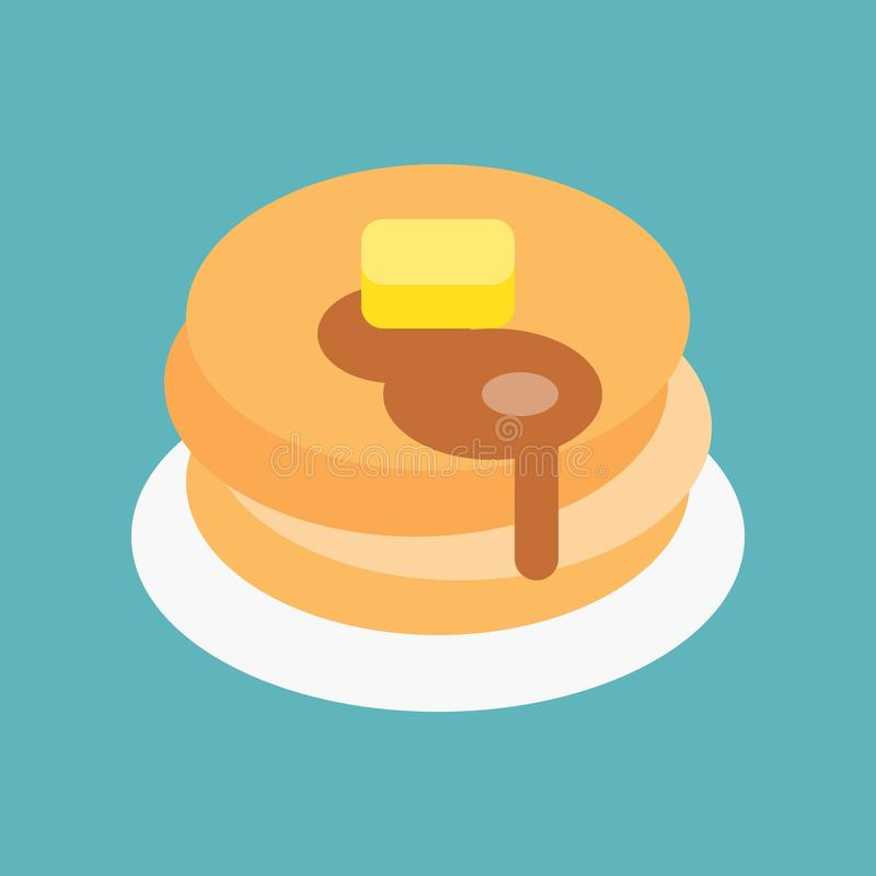 Hot pan cake with maple syrup and butter, sweets and pastry set, flat design icon.  royalty free illustration