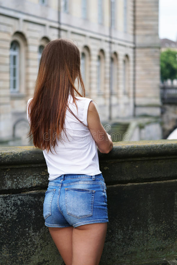 Hot pants or booty shorts fashion trend stock images