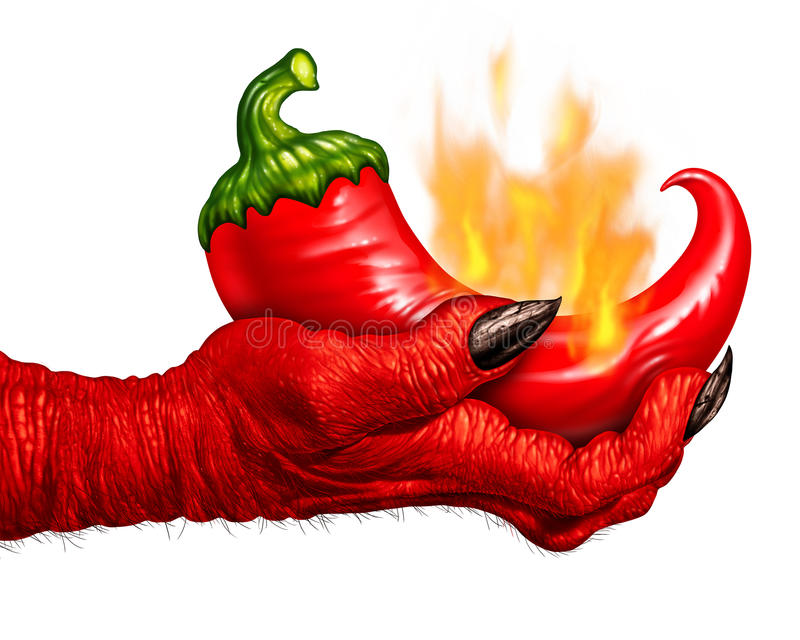 Hot Pepper Devil Hand. As a red chili burning in flames being held by a demon hand as a food symbol for spicy seasoning cooking on a white background royalty free illustration
