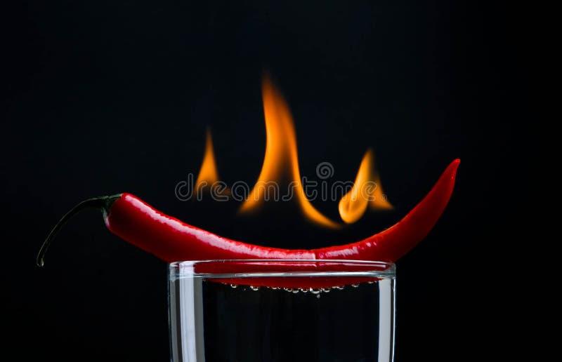Hot pepper on fire
