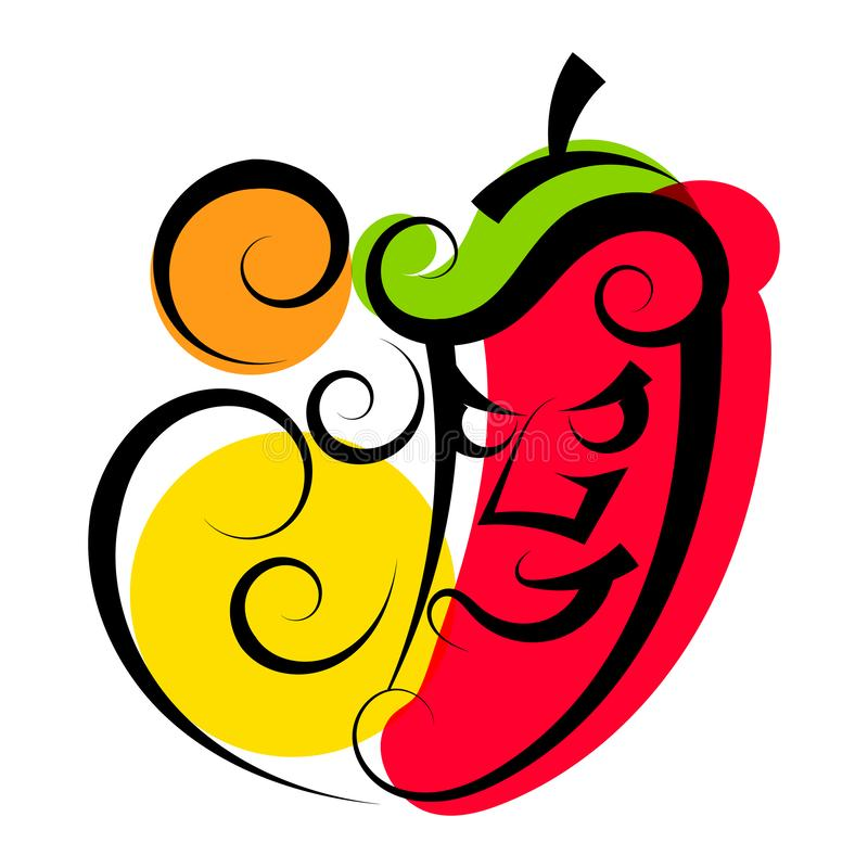 Hot Pepper, Great Design For Any Purposes. Healthy Organic Food. Colorful Graphic Concept. Red Hot Chili Pepper Icon. Spicy. Seasoning. Natural Eating. Organic royalty free illustration