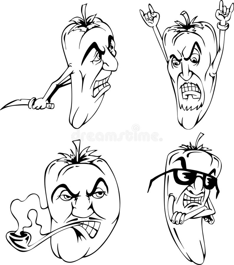Download Hot peppers stock vector. Image of male, funny, cartoon - 24913951