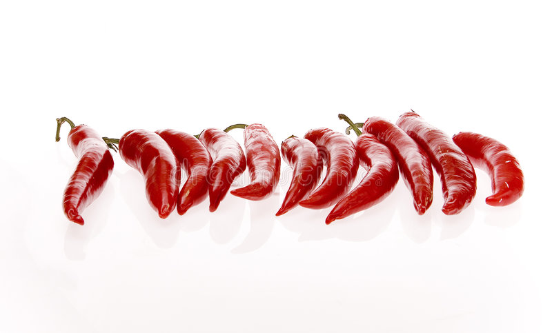 Hot peppers. Red hot peppers on white ground stock photography