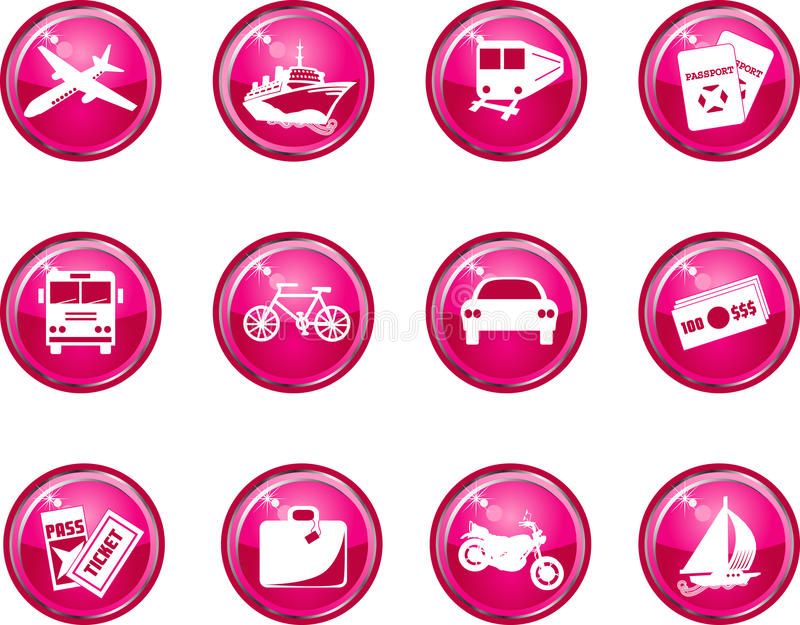Hot Pink Glossy Travel Icons vector illustration