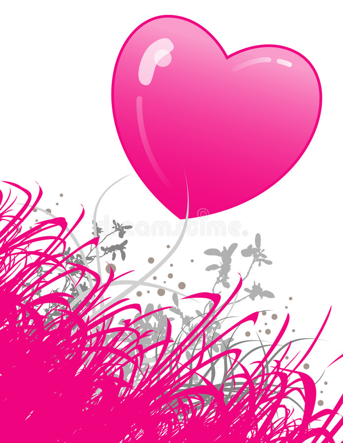 Free Hot Pink Heart And Flowers Stock Photo - 5678720