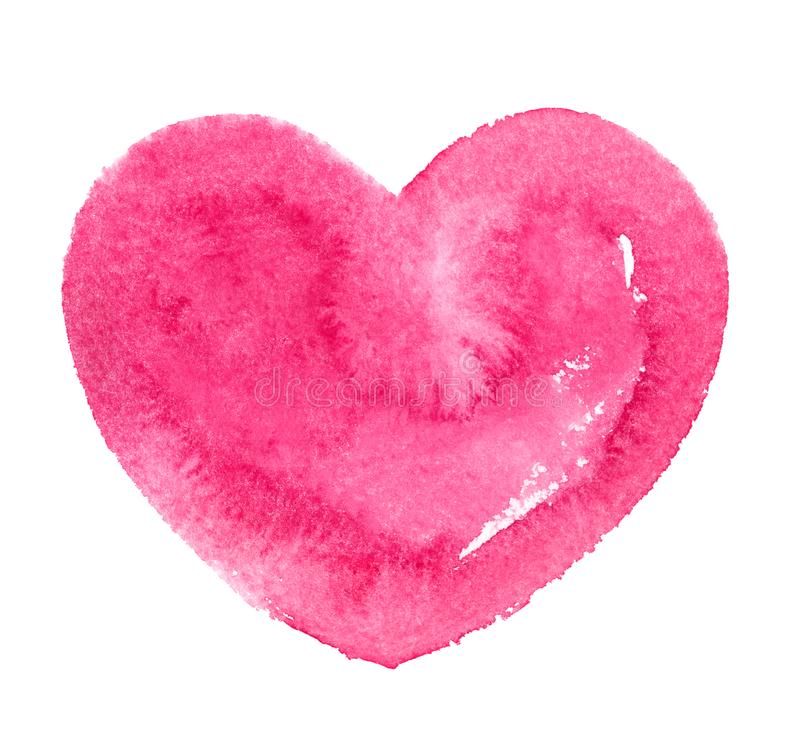Hot pink watercolor heart silhouette, Valentines day template vector illustration