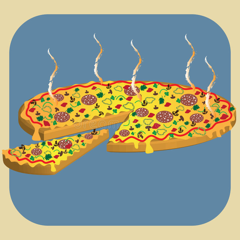 Download Hot pizza stock vector. Image of artwork, gourmet, isolated - 10160867