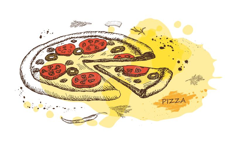 Hot Pizza on the background of watercolor stains. Vector. stock photo