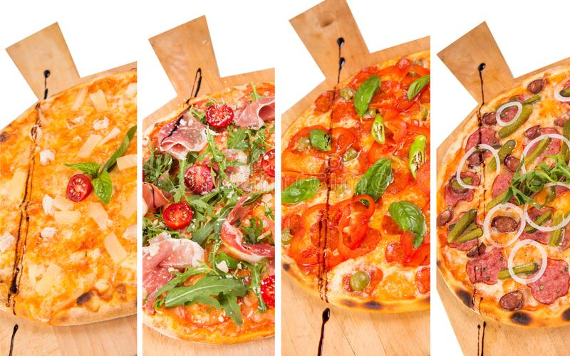 Pizza isolated on white royalty free stock photos