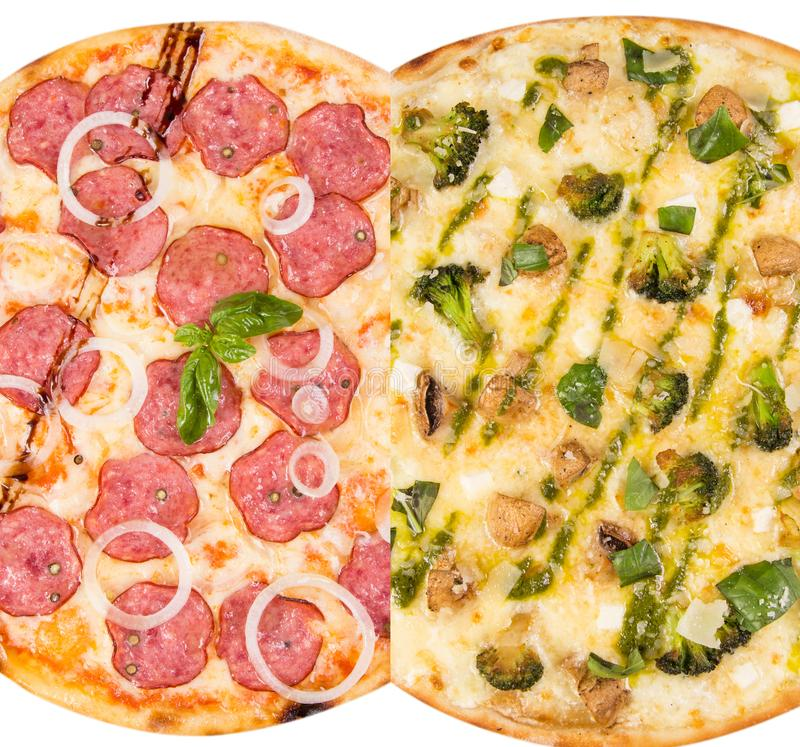 Pizza isolated on white stock images