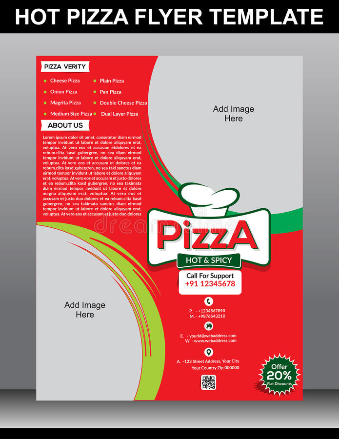 download hot pizza flyer template stock vector illustration of date 47515609