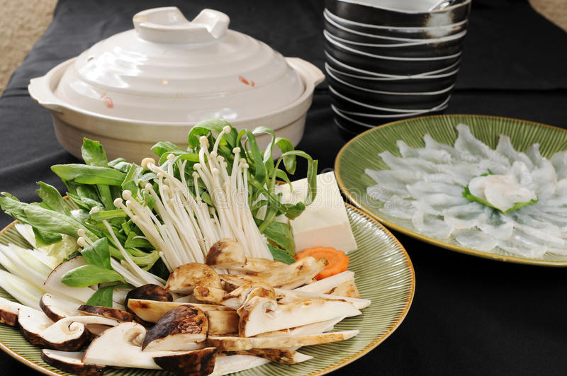 Hot pot. Chinese hot pot on the table royalty free stock photography