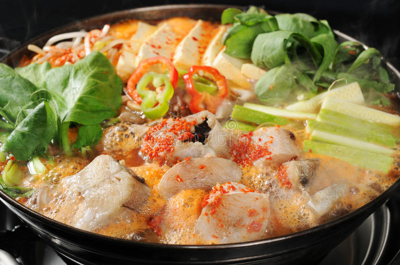 Hot pot. A wealth of seafood hot pot cooking stock image