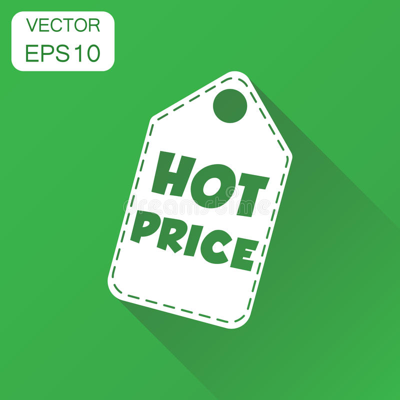 Hot price hang tag icon. Business concept hot price shopping pic. Togram. Vector illustration on green background with long shadow stock illustration