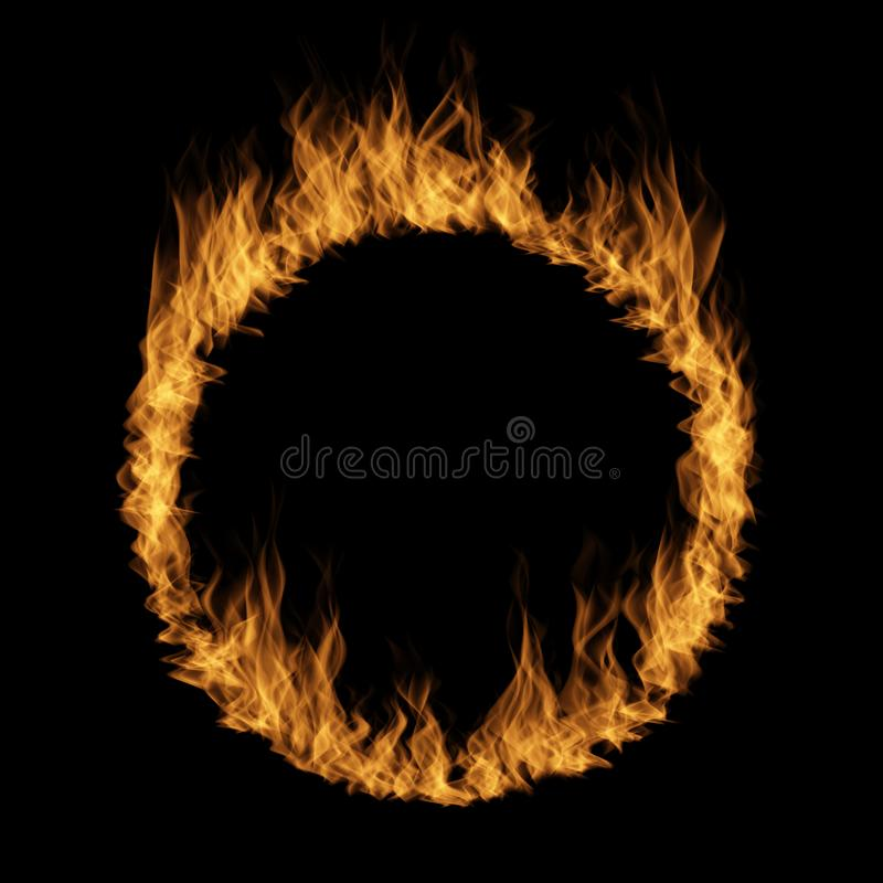 Hot raging blaze of fire, circle round ring flame stock illustration