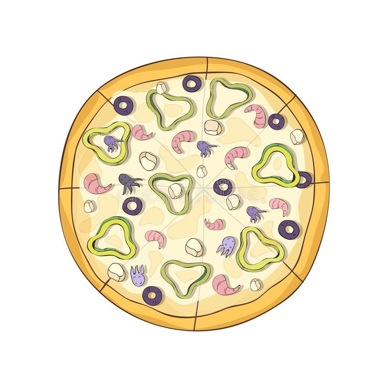 Hot ready pizza with seafood and vegetables. Vector illustration. vector illustration