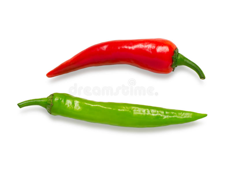 Hot red and green pepper isolated on a white background stock photos